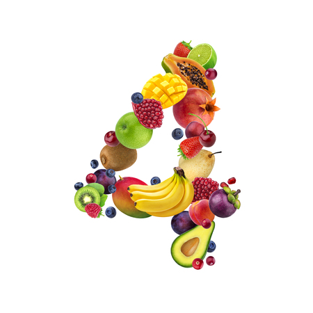 Foto de Number four made of different fruits and berries, fruit alphabet isolated on white background - Imagen libre de derechos