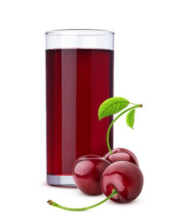 Photo for Glass of cherry juice and fresh berries isolated on white background - Royalty Free Image