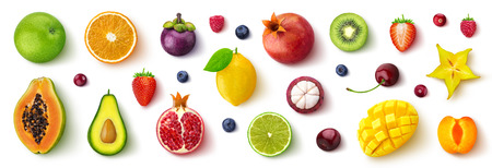 Foto de Assortment of different fruits and berries, flat lay, top view - Imagen libre de derechos