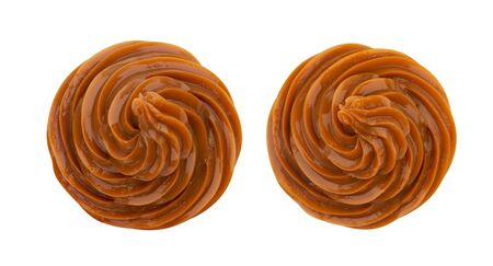 Photo for Swirl of caramel cream isolated on white background, top view - Royalty Free Image