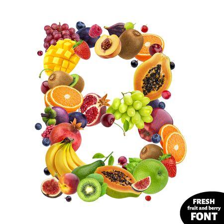 Photo for Letter B, fruit font symbol isolated on white background - Royalty Free Image
