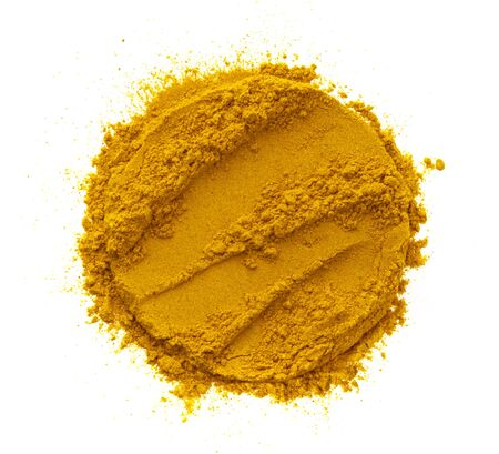 Photo pour Turmeric powder, round pile of curcuma spice isolated on white background, top view - image libre de droit