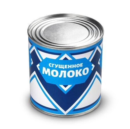 Photo pour Condensed milk can isolated on white background with clipping path, russian cyrillic text, translation: Condensed milk - image libre de droit