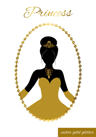 Illustration for Princess full face black silhouette in tiara, necklace and ball gown. Queen in gold full-length dress, crown and gloves. In patterned gold glitter frame. Cameo for beauty salon, wedding invitations. - Royalty Free Image