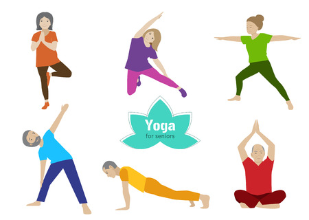 Illustration pour Yoga for seniors set. Collection of stretching, balance exercises for older people. Sport activity for elderly. Vector flat set. Senior healthy lifestyle. - image libre de droit