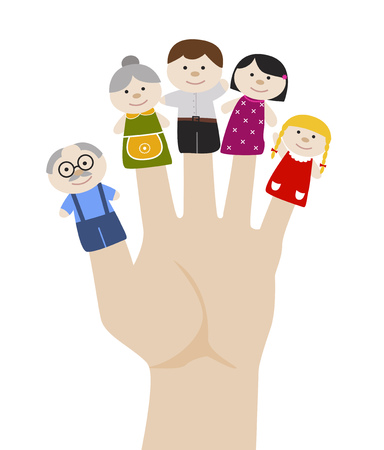Illustration for Family finger puppets. Grandparents and parents with child. Cartoon vector illustration of happy puppet family. Togetherness, family love concept. - Royalty Free Image