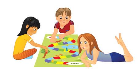 Photo pour Kids playing board game - image libre de droit