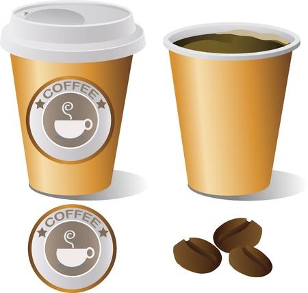 hot coffee cup set, illustrator