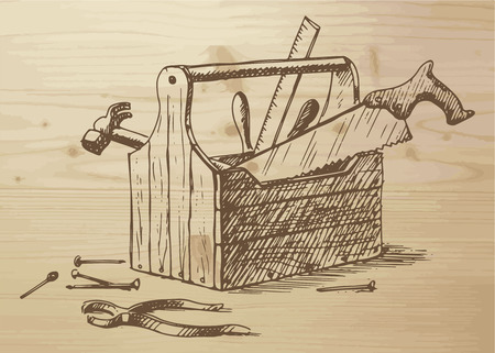 Hand drawn toolbox with different tools -  nails, hammer, saw, ruler, box, plier. Tools on a wooden background. Vector illustration on wooden background.