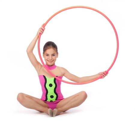little rhythmic gymnast with hoop