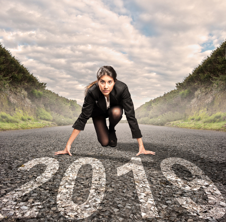 Photo for businesswoman on a road ready to start a new year - Royalty Free Image