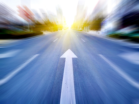 Speeding toward the sun on the city streets
