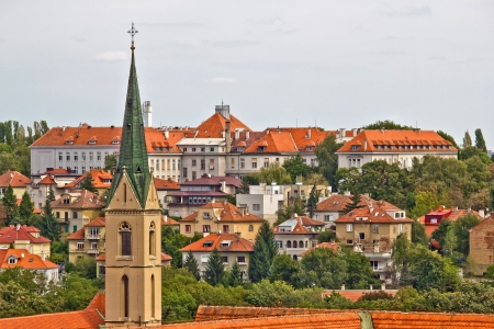 Zagreb rooftops and church tower, croatia