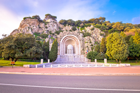 Photo for Hill carved Monument aux morts de Rauba-Capeu in Nice, French riviera - Royalty Free Image