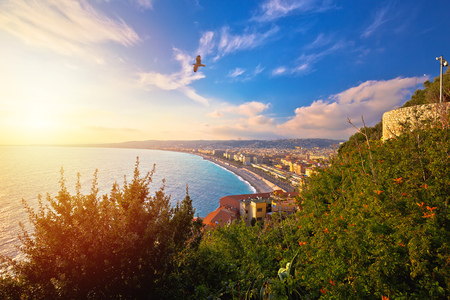 Photo for City of Nice Promenade des Anglais waterfront aerial view, French riviera, Alpes Maritimes department of France - Royalty Free Image