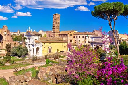 Foto de Scenic springtime panoramic view over the ruins of the Roman Forum in Rome, capital of Italy - Imagen libre de derechos