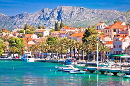Photo pour Town of Cavtat colorful Adriatic waterfront view, south Dalmatia, Croatia - image libre de droit