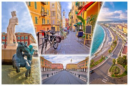 Photo for Nice. City of Nice tourist postcard of famous landmarks, French riviera or Cote d Azur, Alpes Maritimes department of France - Royalty Free Image