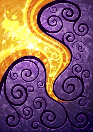 Foto de Abstract purple vector floral illustration  - Imagen libre de derechos