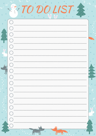 List TO DO with cartoon animals and winter elements. Template with place for notes. Vector illustration for print, office, school.