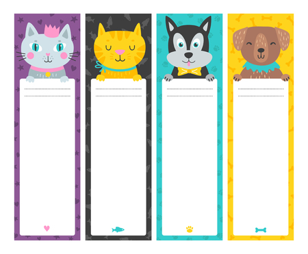 Illustration pour Cute vertical cards with animal in cartoon style. Template for card, bookmark, banner. Tags with place for text. Vector illustration - image libre de droit