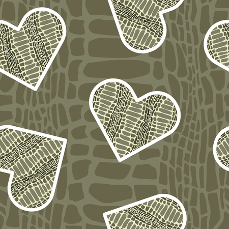 Ilustración de Seamless pattern with crocodile skin in shape of heart. Trendy animal print.  Fashion vector illustration for print, design, t-shirt. - Imagen libre de derechos