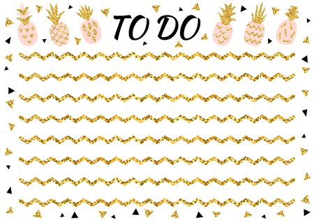 Ilustración de Creative to do list with gold glitter pineapple and triangle. Stylish fashion organizer and schedule. Planner template for print, wedding, school. Vector illustration. - Imagen libre de derechos