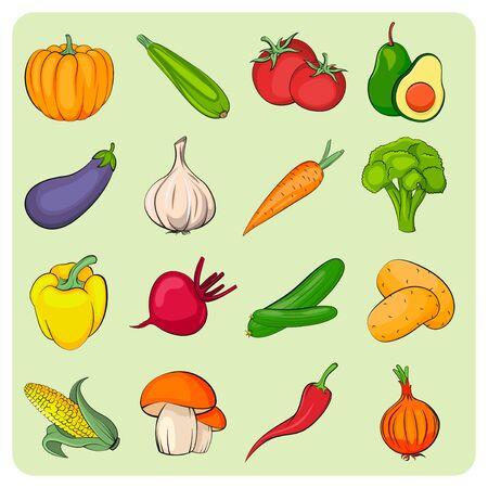 Illustration pour Vegetables icons set. Vegetables collection. Flat vector vegetables. - image libre de droit