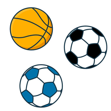 Illustration pour Flat sports balls vector set. soccer and baseball, football game isolated - image libre de droit