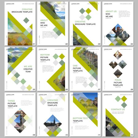 Illustration pour Creative brochure templates with colorful cubes, trendy geometric abstract background. Covers design templates for flyer, leaflet, brochure, report, presentation, advertising, magazine. - image libre de droit