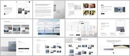 Illustration pour Bundle of editable business templates for digital app, web products. Vector templates for website design, presentations, portfolio, presentation slides, flyer, leaflet, brochure cover, annual report. - image libre de droit