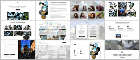 Photo pour Vector templates for website design, presentations, portfolio. Templates with triangles, triangular pattern for presentation slides, flyer, leaflet, brochure cover. Backgrounds with place for photo. - image libre de droit