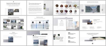 Illustration for Bundle of editable business templates for digital app, web products. Vector templates for website design, presentations, portfolio, presentation slides, flyer, leaflet, brochure cover, annual report. - Royalty Free Image