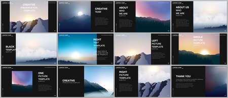 Illustration pour Presentation design vector templates, multipurpose template for presentation slide, brochure cover, report. Fog, sunrise in morning and sunset in evening. Nature landscape backgrounds with mountains. - image libre de droit