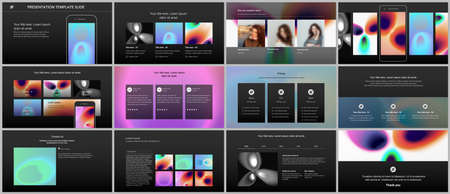 Illustration for Vector templates for website design, presentations, portfolio. Templates for presentation slides, flyer, leaflet, annual report. Medical design with bright colored gradient pattern in form of cells. - Royalty Free Image