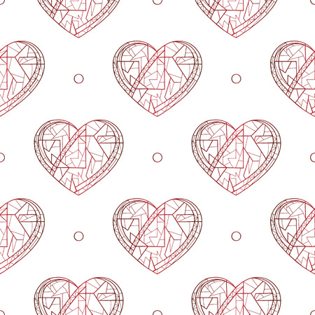 Hearts hand drawn vector seamless pattern. Valentines day holidays background. Love texture for surface design, textile, wrapping paper, wallpaper, phone case print, fabric.