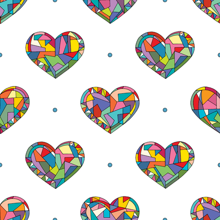 Illustration pour Hearts hand drawn vector seamless pattern. Valentines day holidays background in modern style. Love geometric texture for surface design, textile, wrapping paper, wallpaper, phone case print, fabric. - image libre de droit
