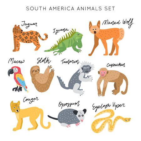 Illustration pour South America Animal vector illustration clipart set. Kids design posters bundle. Wild mammal drawing in scandinavian style. Handwritten lettering. Exotic wildlife.  - image libre de droit