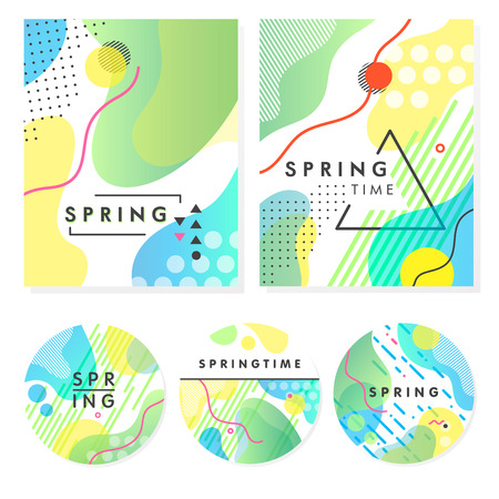 Illustration pour Set of unique artistic spring cards with bright gradient background, shapes and geometric elements in memphis style. - image libre de droit