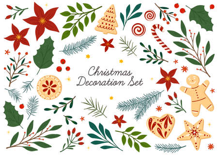 Illustration pour Bundle of Christmas and Happy New Year floral design elements.Vector hand drawn plants, cookies and candies, tree branches, mistletoe and berries.Xmas decoration set.Winter traditional decor bundle. - image libre de droit