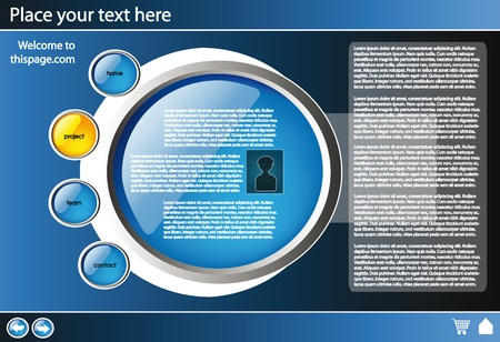 web site design template for company with black background and glossy buttons