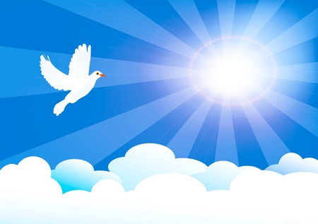 vector illustration of heaven with sun and clouds and little dove