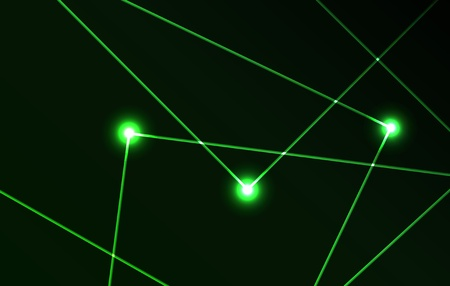 Nice vector laser light in green color and dark background