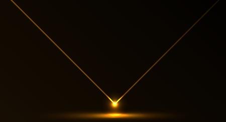 Nice vector laser light in orange fire color and dark background