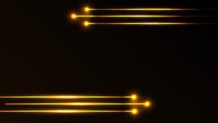 Nice vector laser light in golden color and dark background