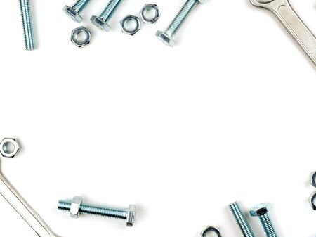 Graphic resources frame for inserting text lined with bolts nuts and wrenches. Fastener in the form of a rod with an external thread. Tool for connecting a threaded connection by tightening bolts nuts