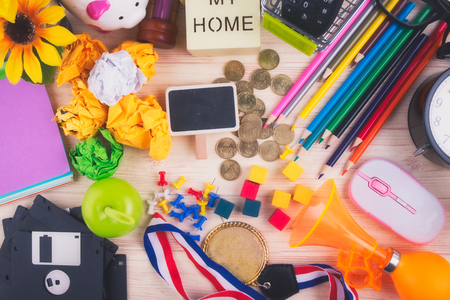 Photo for flat lay top view shot, scattered home office workspace or desk concept with accessories and stationery - Royalty Free Image