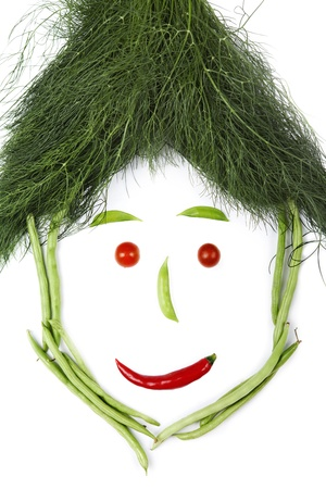 Face made of vegetables, shot in studio isolated on white background
