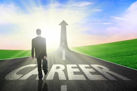 Photo pour Businessman walking on a great career path - image libre de droit