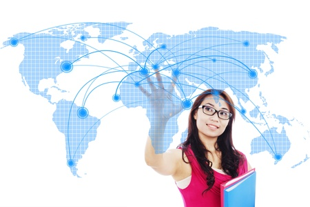 Portrait of female college student with global networking design
